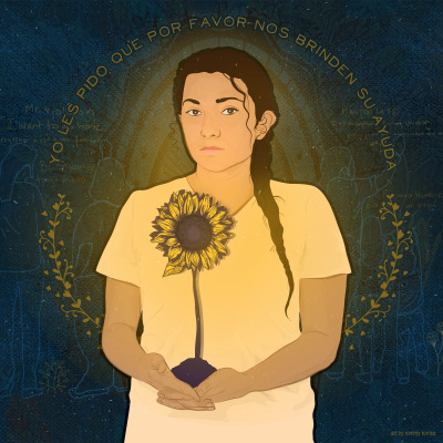 "Image of a young girls holding a sunflower over her heart. She looks seriously at the viewer, with a halo made up of the words ""Yo les pido que por favor now brinden su ayuda."""