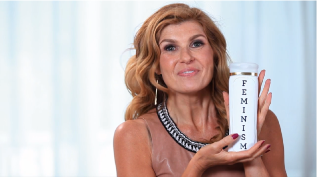 Connie Britton holding a bottle of feminism