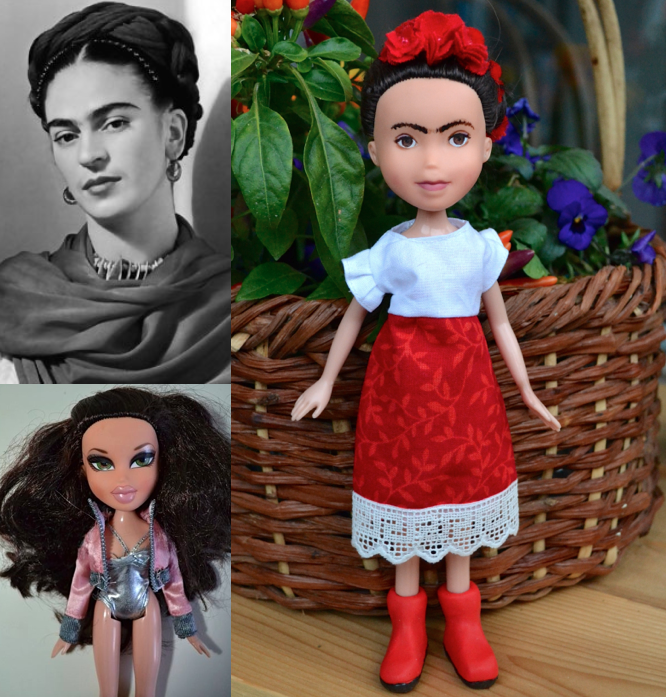 A collage of pictures: on the top left, Frida Kahlo, hair braided, with a scarf; bottom left, a Bratz doll, in characteristically heavy makeup, a silver bodysuit, and pink bomber jacket; and to the right, the re-fashioned doll - lips thinner and light brown, eyes smaller and rounder, hair in braids adorned with flowers and wearing a white shirt and long red flowered skirt.