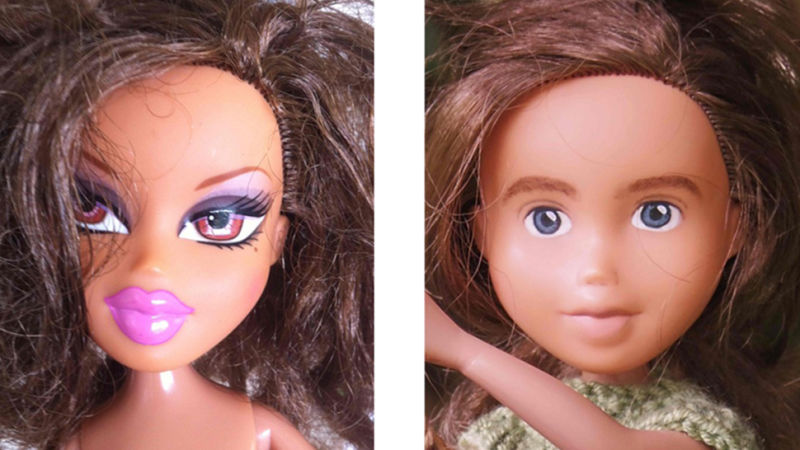 Bratz doll before and after: before has bright pink, thick lips, purple eyeshadow, and stylized brows; after has smaller lips, no lipstick, smaller eyes and unplucked brows.