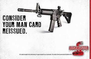 """Image of a black gun propped up, with words """"Consider your man card reissued."""""""