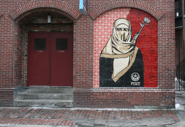 mural of woman in hijab