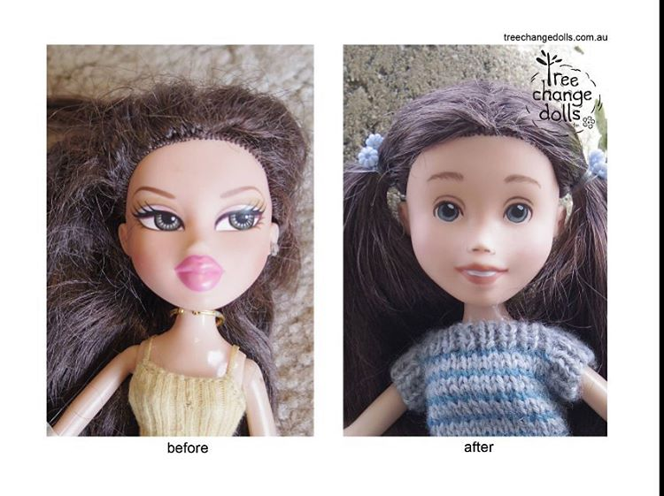 On the left, before: a doll with large eyes with eye makeup; full, bright pink lips; and stylized eyebrows. To the right, after: the same doll now has smaller, round eyes; thinner, light pink lips, thicker, straighter brows; and lighter hair.