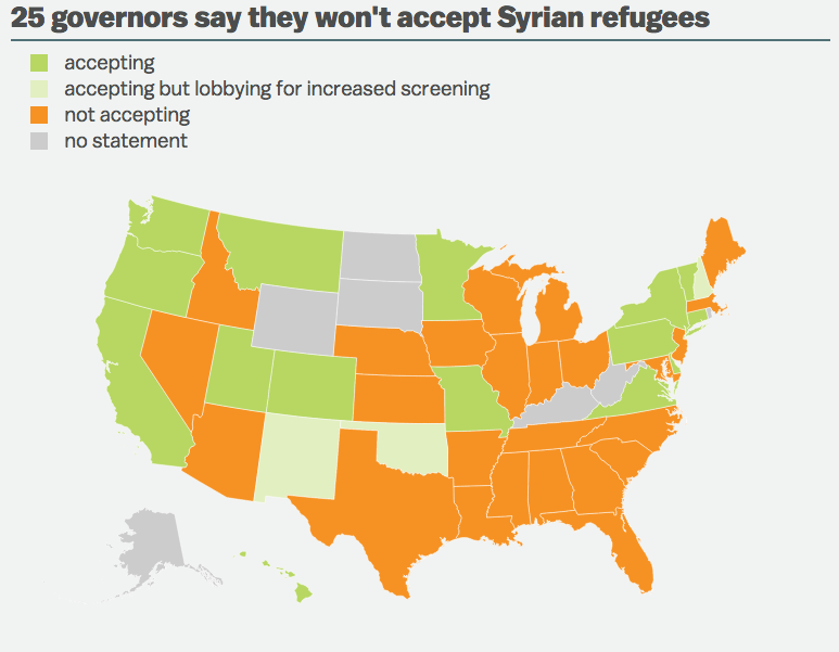 map of states refusing syrian refugees