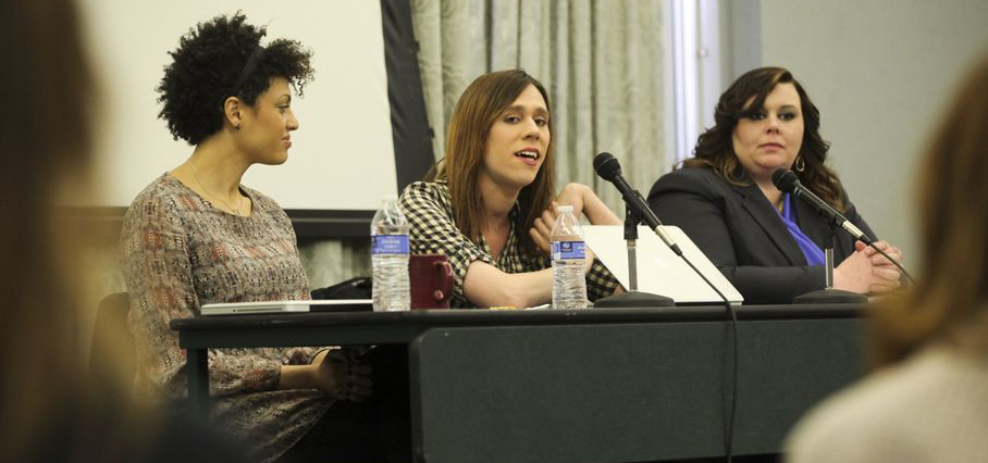Lori, Jos, and a student panelist at a Feministing speaking event