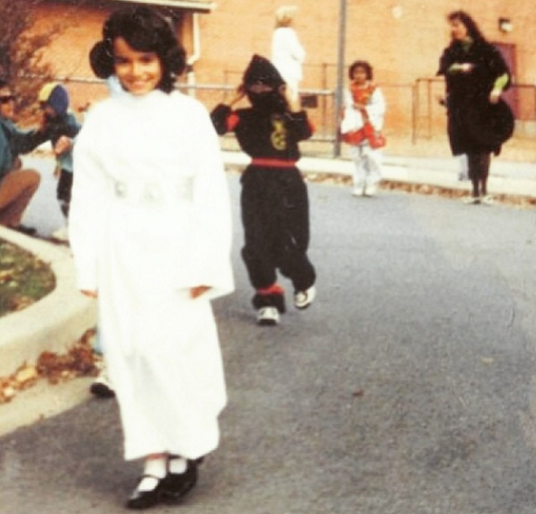 The author dressed up as Princess Leia when younger