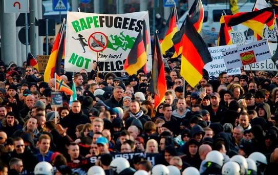 Right-wing protesters in Germany.