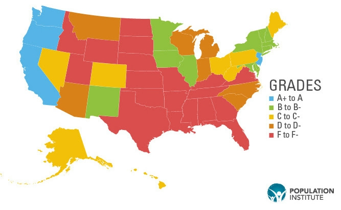 map of US states showing grades on repro rights