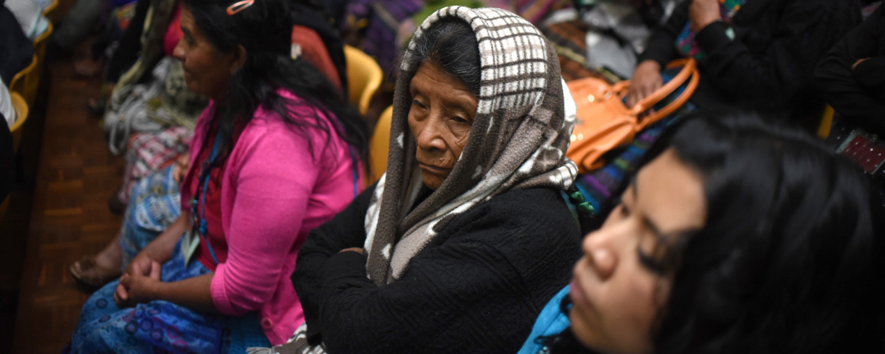 Indigenous people attend the trial of two army officers accused of keeping 11 indigenous women as sex slaves during the country's bloody 36-year civil war, in Guatemala City on February 1, 2016. AFP PHOTO / Johan ORDONEZ / AFP / JOHAN ORDONEZ        (Photo credit should read JOHAN ORDONEZ/AFP/Getty Images)