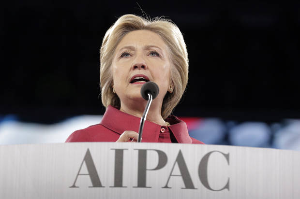 Democratic U.S. presidential candidate Hillary Clinton addresses the American-Israeli Public Affairs Committee (AIPAC) Conference's morning general session at the Verizon Center in Washington March 21, 2016.      REUTERS/Joshua Roberts - RTSBINR