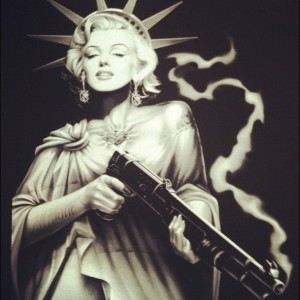 Marilyn Monroe as the Statue of Liberty with a smoking gun