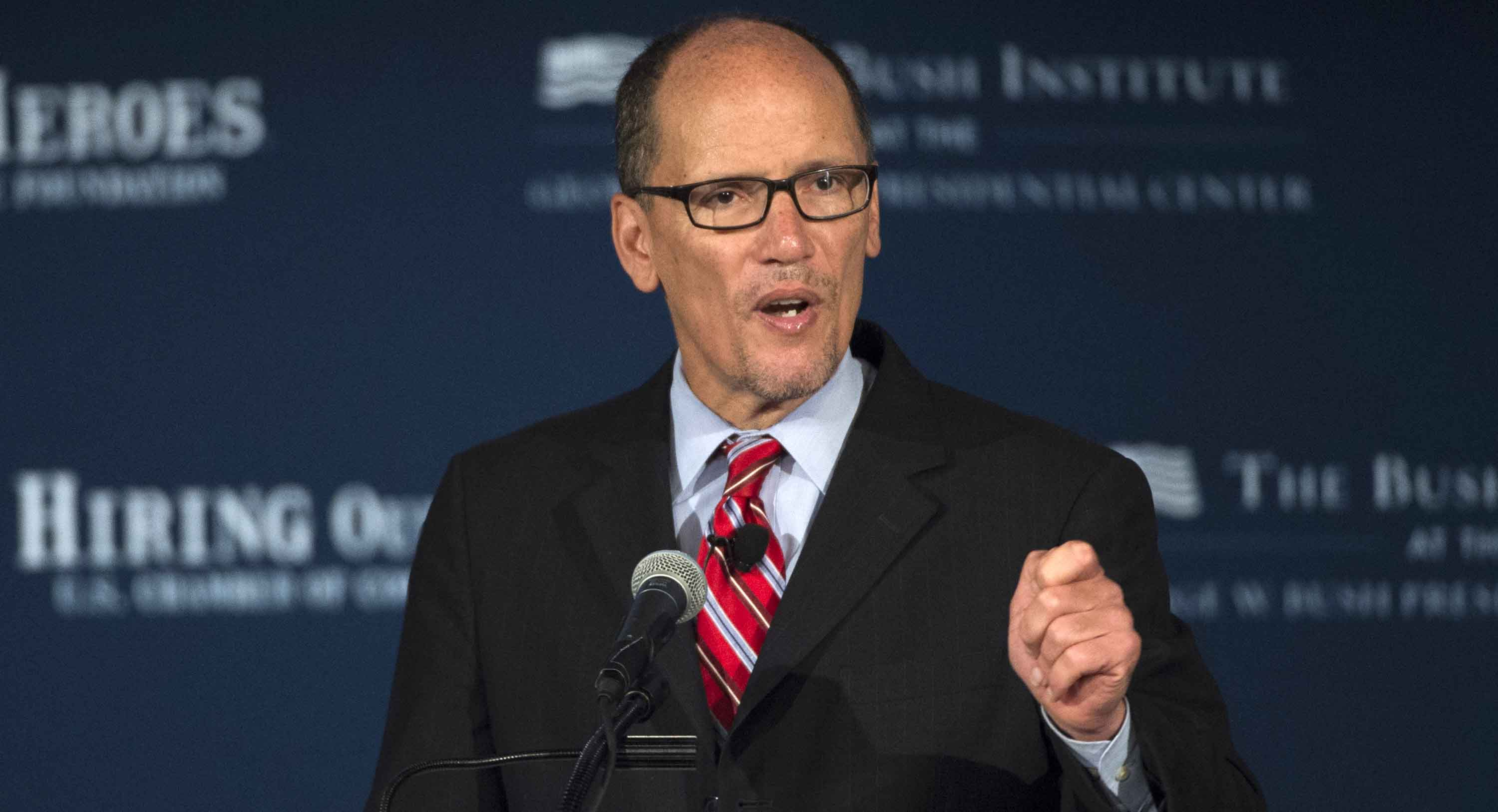 Labor Secretary Thomas Perez speaks at the U.S. Chamber of Commerce Foundation's Hiring Our Heroes program and the George W. Bush Institute's Military Service Initiative national summit, Wednesday, June 24, 2015, at the U.S. Chamber of Commerce in Washington. The summit  focuses on creating employment opportunities for post-9/11 veterans and military families.  (AP Photo/Molly Riley)
