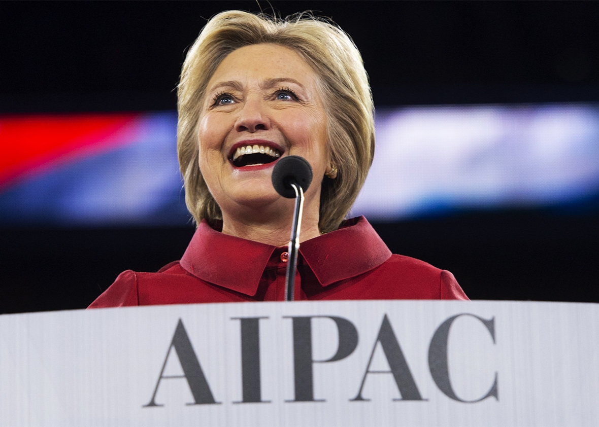 Clinton speaking to the American Israel Public Affairs Committee. Photo via Saul Loeb/Getty Images.