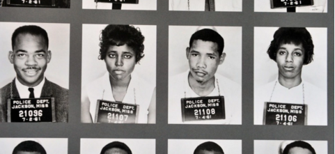 "Mug shots of Freedom Riders, who were arrested in 1961 in Jackson, Miss., for ""breach of peace"" and refusal to obey a police order after they attempted to use ""whites only"" restrooms and lunch counters."