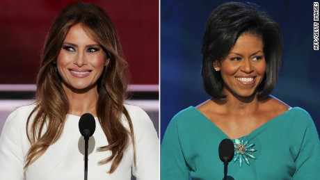 Melania and Michelle split screen