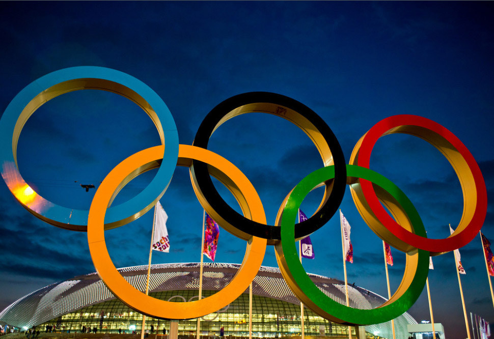 A photo of the olympic rings.