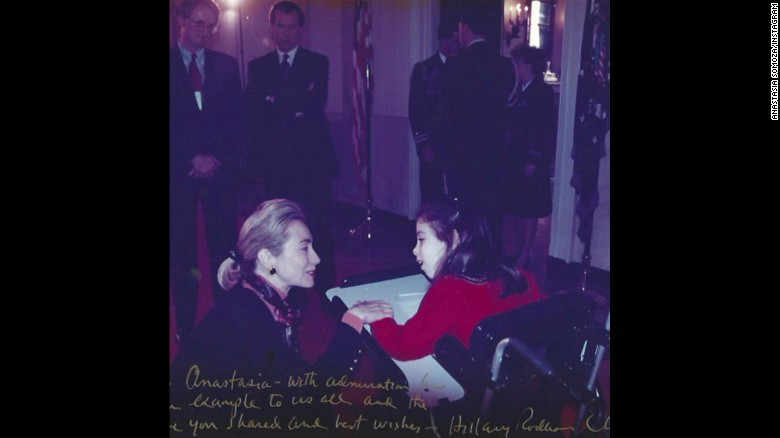A vintage looking photo, Anastasia Somoza, disability rights advocate and human rights defender meets Hillary Clinton