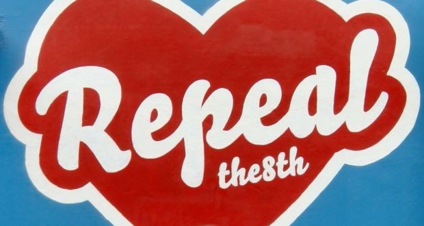 Repeal The 8th graffiti art in red and white