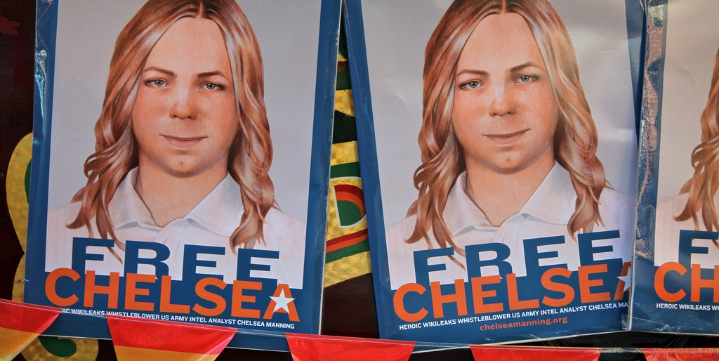 """Free Chelsea Manning"" posters."
