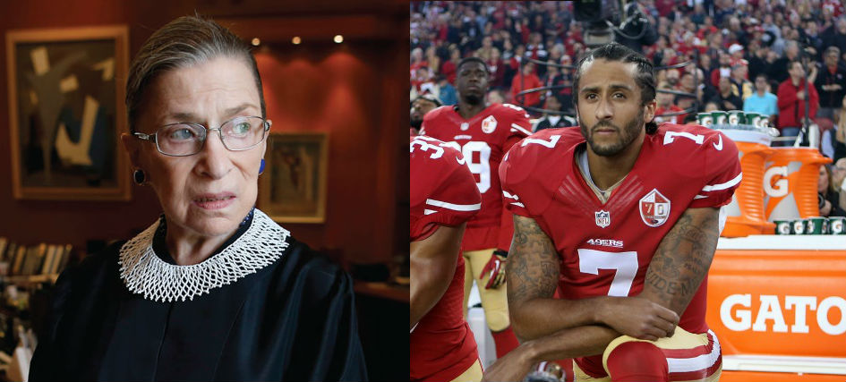Juxtaposed images of Ruth Bader Ginsburg in judges robes, and Colin Kaepernick in his 49ers uniform, on one knee and protesting.