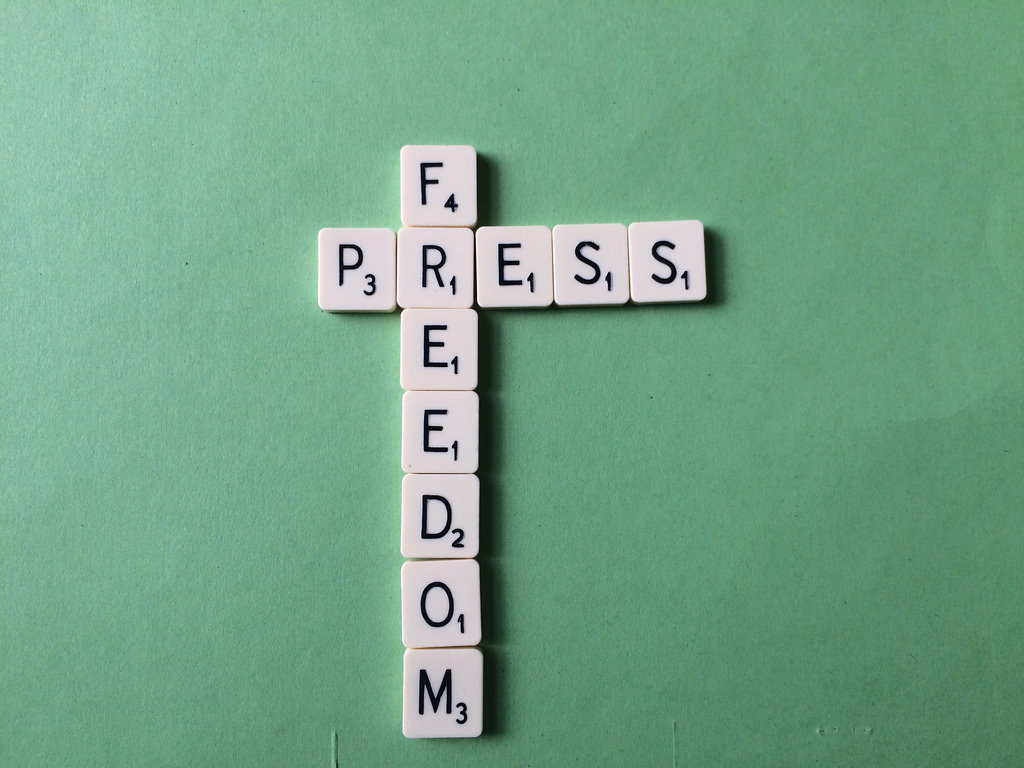 freedom of the press written in scrabble letters