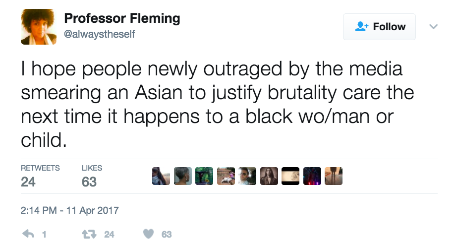 This is a tweet reflecting on the fact that folks who are newly outraged about the media treatment of the United Airlines brutality incident victim should also care when black and brown people experience the same treatment.
