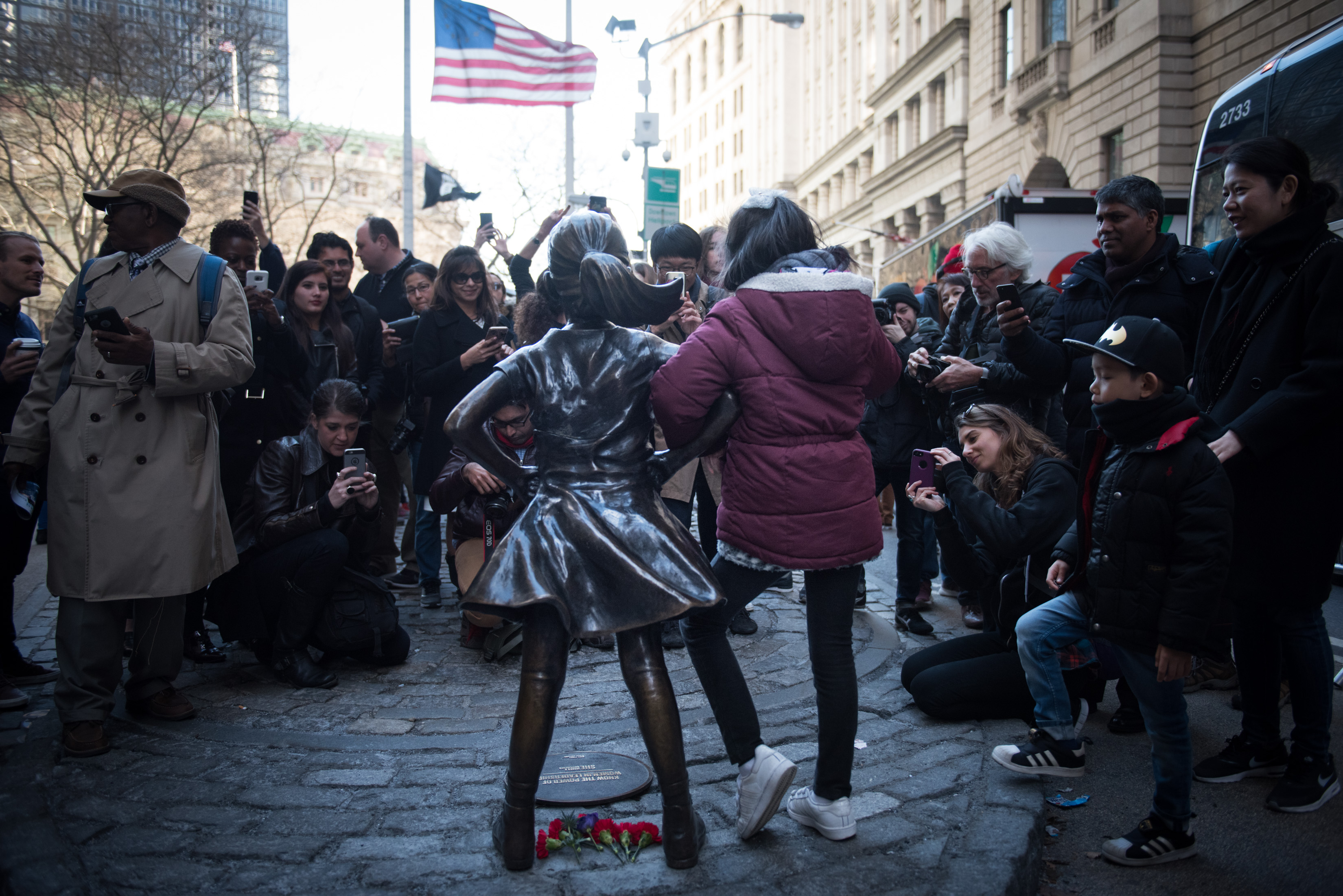 Fearless Girl statue at Bowling Green, which was installed to celebrate International Women's Day on Wednesday, March 8, 2017. Michael Appleton/Mayoral Photography Office