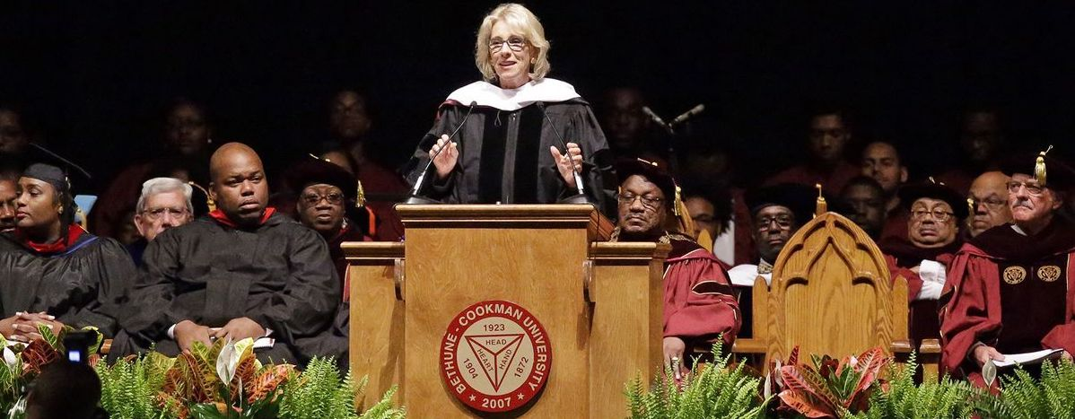 Betsy DeVos, giving a speech to the BCU graduating class.