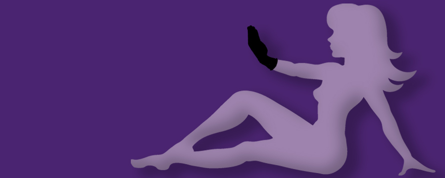 Image of the midflap girl fisting against a purple background