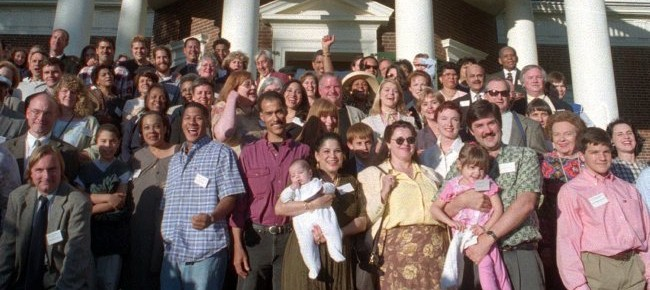 Descendants of Thomas Jefferson and descendants of his slave Sally Hemings pose for a group shot at his plantation Saturday, May 15, 1999, for the first time in 170 years during the Monticello Association's Annual meeting Saturday, May 15, 1999, in Charlottesville, Va. (AP Photo/Leslie Close)
