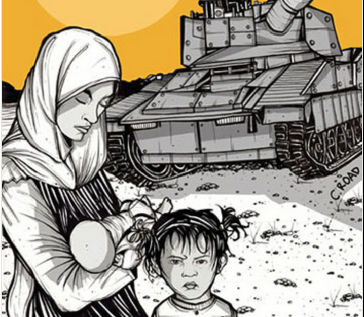 A women in a headscarf holds a child next to a military tank.