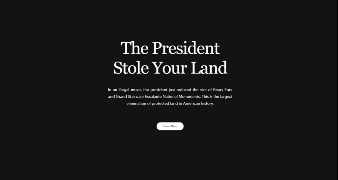"Screenshot of Patagonia's homepage that says ""The President Stole Your Land"" in response to the largest reduction of public lands protection in US history"