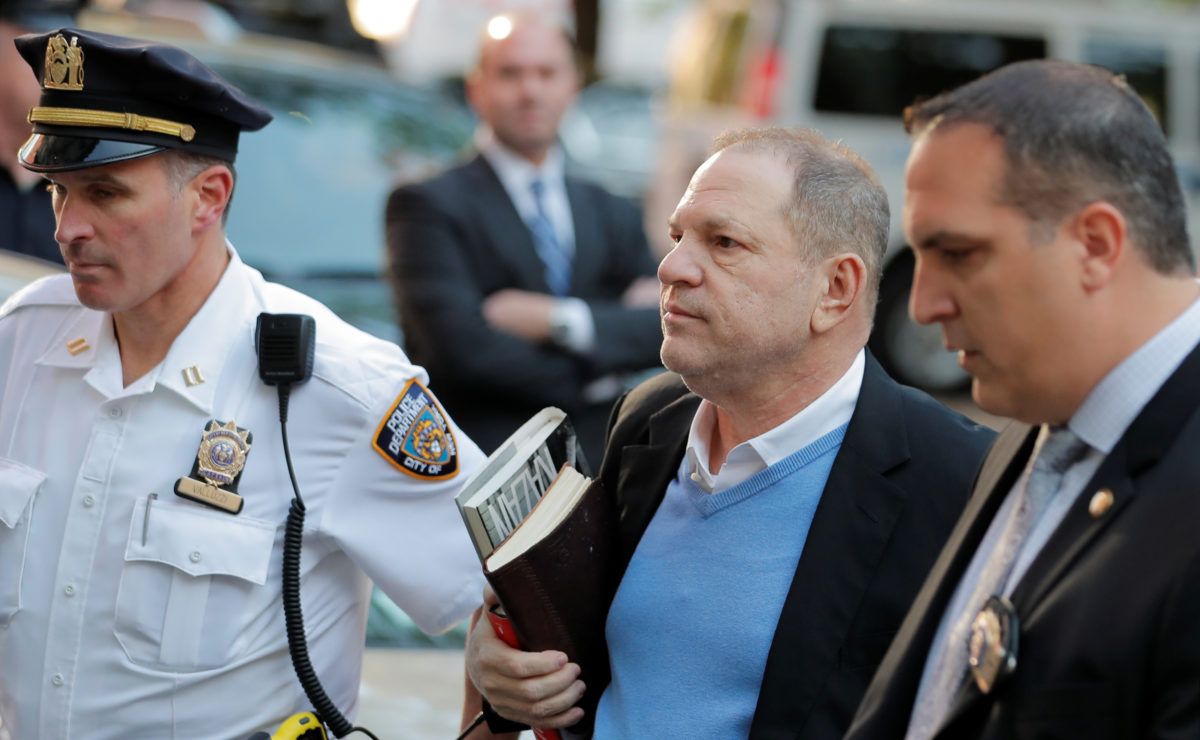 Film producer Harvey Weinstein arrives at the 1st Precinct in Manhattan in New York