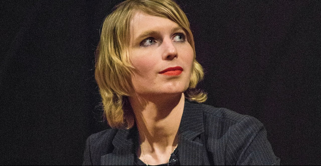A headshot of Chelsea Manning looking to the side.